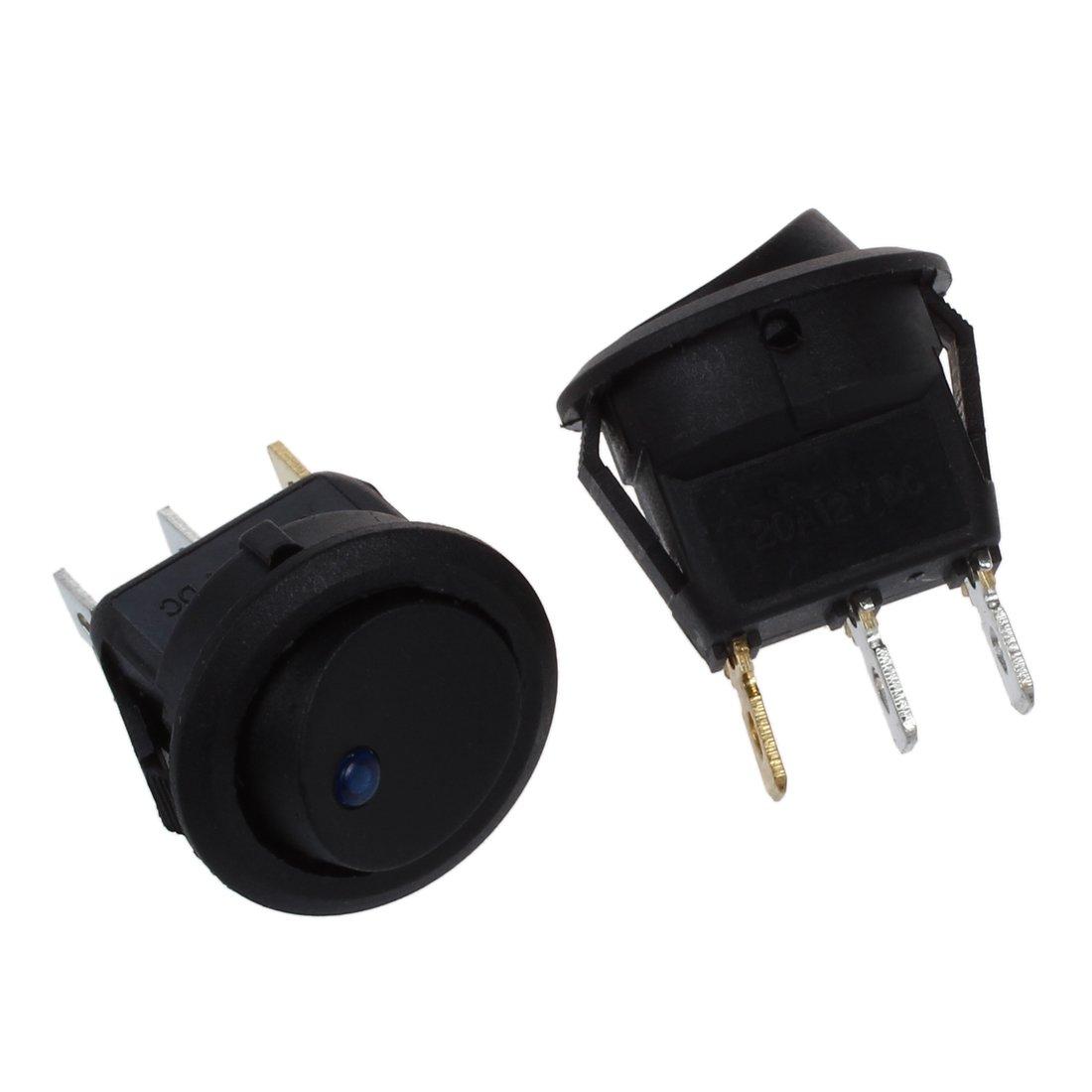 R SODIAL 4 Mini Round LED Rocker Indicator Switch 3 Pin On-Off 12V DC