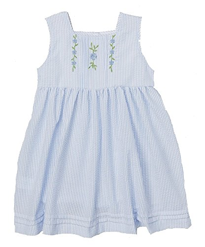 Lil Cactus Girl's Blue Stripe Flower Babydoll Dress 5 US (Lil Cactus Girls compare prices)