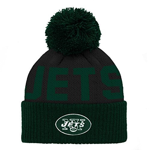 NFL New York Jets Jacquard Cuffed Knit Hat with Pom Hunter Green, Infant One Size