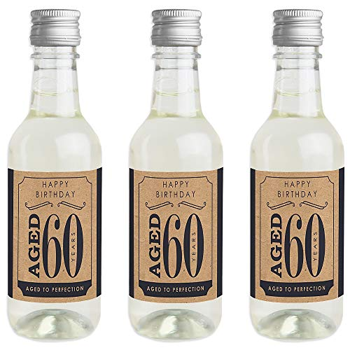 60th Milestone Birthday - Dashingly Aged to Perfection - Mini Wine and Champagne Bottle Label Stickers - Birthday Party Favor Gift for Women and Men - Set of 16