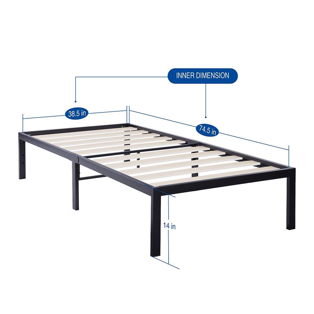 Olee Sleep 14 Inch Tall T-3000 Ultra Wood Slat Steel//Non-Slip Bed Frame 14BF06T