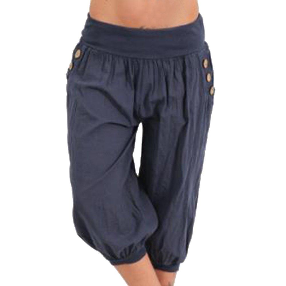 laamei Mujer Pantalones de Yoga Pantalones Deportivos de Fitness Bombacho Clásico Boyfriend Harem Pantalón Chandal Baggy