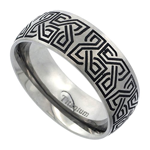 Titanium 8mm Wedding Band Square Knots Celtic Ring Domed Brushed Finish Comfort Fit, size 11.5