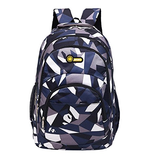 YJYdada Backpack, Backpack Teenage Girls Boys School Backpack Camouflage Printing Students Bags (Dark Blue)