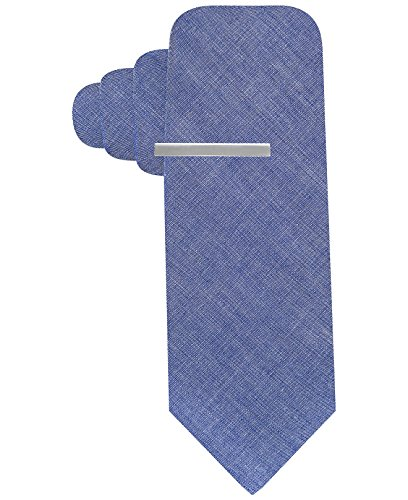 Alfani Red Men's Chambray Solid Skinny Neck Tie With Tie Clip Set (Blue) by Alfani