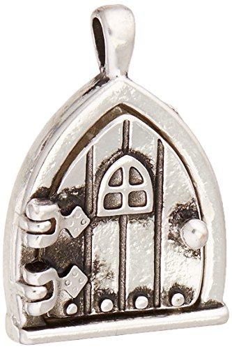 Darice 1-Piece Fairy Charm Triangle Window Door, Antique Silver]()
