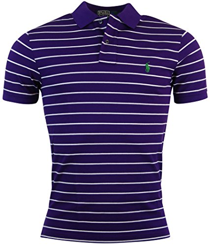 Polo Ralph Lauren Mens Pima Stretch Mesh Striped Polo Shirt - S - Purple/White (Polo Pima Mesh Shirt)
