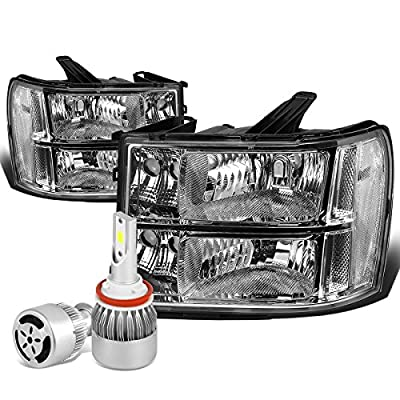 For GMC Sierra GMT900 Pair of Chrome Housing Clear Corner Replacement Headlight + H8 LED Conversion Kit W/Fan