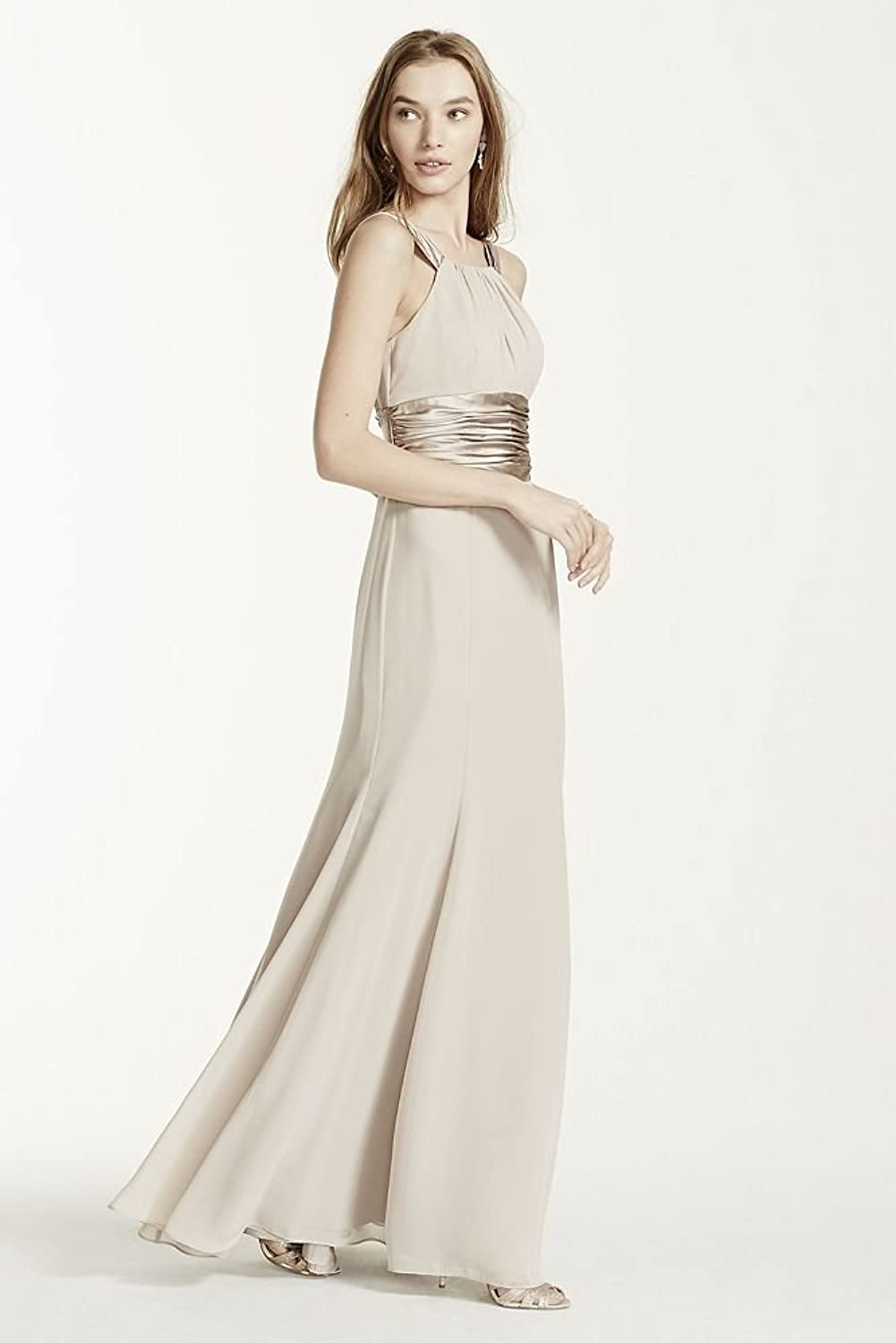 Chiffon and charmeuse bridesmaid dress with rounded neckline style chiffon and charmeuse bridesmaid dress with rounded neckline style f12732 at amazon womens clothing store ombrellifo Gallery