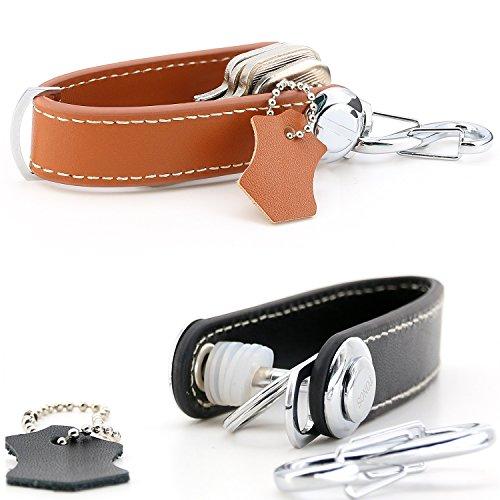 TONOS Best Compact Key Holder Key Organizer Secure Locking Mechanism Expandable Key Holder Hook up to 8 Keys & Tools Made by Premium Quality Leather -Twin Set by TONOS