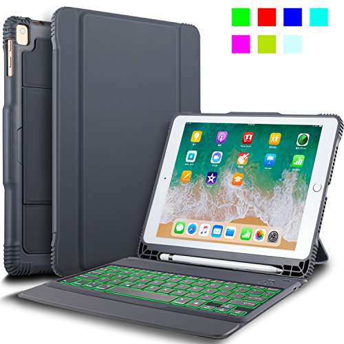 "IVSO New iPad 9.7"" 2018/2017 Keyboard Case With Stylus Holder, Case with Keyboard(QWERTY Layout), 7 LED Backlit Colors 3 Levels Brightness Control DETACHABLE Bluetooth Keyboard Case with Automatic Sleep/Wake for Apple New iPad 9.7 2018/2017/iPad Pro 9.7/iPad AIR 2/iPad AIR 9.7 inch Tablet, Gray"