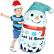 LEOHOME Inflatable Punching Bag for Kids, 51in Inflatable Snowman Tumbler Christmas Outdoor Decorations 3D Bop