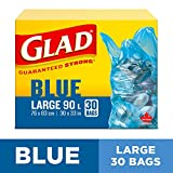 Glad Blue Recycling Bags - Large 77 Litres - Easy-Tie Handles, 30 Trash Bags