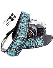 Blue Woven Vintage Camera Strap for All DSLR Camera. Embroidered Elegant Universal Neck & Shoulder Strap, Floral Pattern Stocking Stuffer for Men & Women Photographers