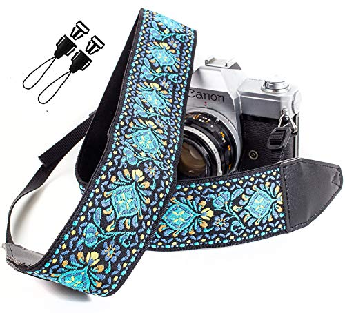 (Blue Woven Vintage Camera Strap Belt For All DSLR Camera. Embroidered Elegant Universal DSLR Strap, Floral Pattern Neck Shoulder Camera Strap for Canon, Nikon,Pentax, Sony, Fujifilm and Digital Camera)