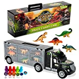 Oumoda Dinosaur Truck, Dinosaurs Transport Car Carrier Truck Toy with 6 Dinosaurs Toys Inside and 10 Dinosaur Stamps, Gifts for Kids/Boys Toy for Ages 3, 4, 5, Years Old and Up