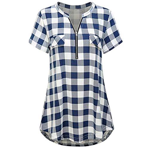 Classiche Tops Tunica Moda Reticolo Corta Con Manica Baggy Camicia Blusa Cerniera neck Ragazza Chic Eleganti Shirt Blau Casuale Donna V Estivi Vintage qI4nwEwA