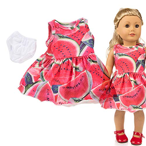 Lavany Cute Sleeveless Party Dress Doll Clothes for 18 Inch American Girl Doll Toy (Watermelon Red◆)