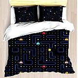 VAMIX Pac-Man Retro Arcade Gaming Design Duvet Cover Set Unique Printed Exclusive Designed Pattern Comforter Bedding Cover Pillow Shams 3 Piece Bed Duvet Cover Twin/XL