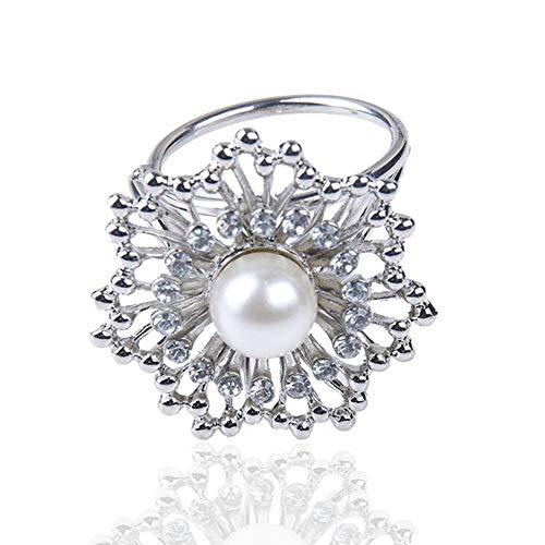 Scarf Ring Clip Buckle Scarf Clip Flower Buckle Holder Women Scarf Jewelry Lot | StyleID - #12_Silver