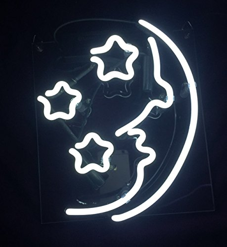 Cool Neon Sign White Moon Star 9' x 9' for Bedroom Pub Hotel Beach Recreational Game Room Beer Decorations
