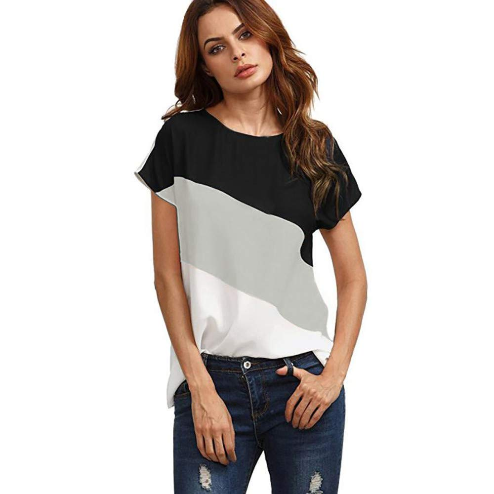 TADAMI Women's Round Neck Striped Short Sleeve T-Shirts Casual Blouses Tops
