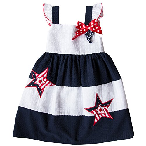 Sundress Seersucker (Good Lad Baby Girls Sundress with July 4th Trim, White, 12M)