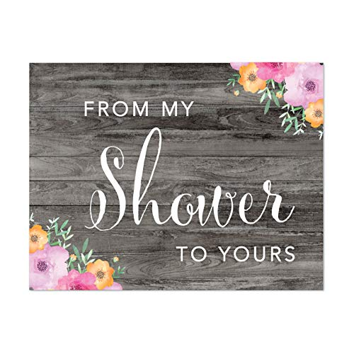 Andaz Press Wedding Bridal Shower Party Signs, Rustic Gray Wood Pink Floral Flowers, 8.5x11-inch, from My Shower to Yours, 1-Pack, Unframed