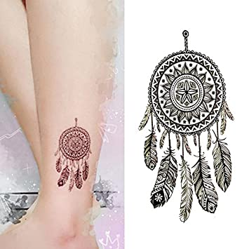 8b25842f9142b Amazon.com : Oottati Small Cute Temporary Tattoo Dream Catcher Ankle (Set  of 2) : Beauty