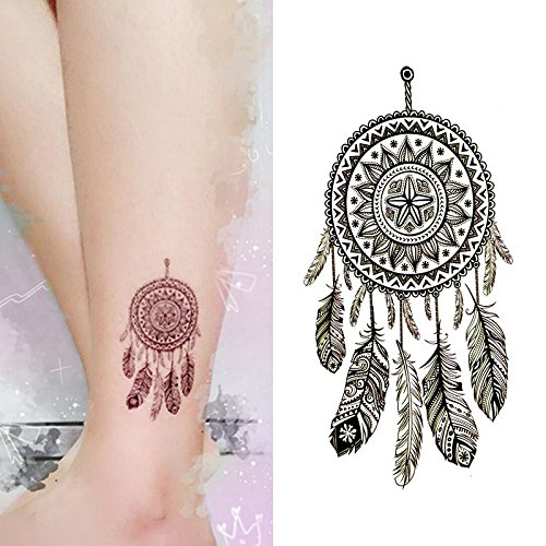 Oottati Small Cute Temporary Tattoo Dream Catcher Ankle (Set of 2)