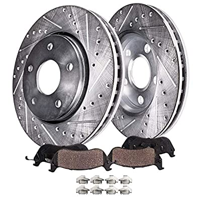 Detroit Axle - Front Drilled & Slotted Brake Kit Rotors Ceramic Pads for 2007-2020 Jeep Compass/Patriot - [2007-2014 Mitsubishi Eclipse/Outlander] - 2004-2010 Galant V6 3.8L - See Fitment: Automotive