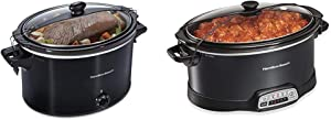 Hamilton Beach Slow Cooker, Extra Large 10 Quart, Black (33195) & Portable 7-Quart Programmable Slow Cooker With Lid Latch Strap for Easy Transport, Dishwasher-Safe Crock, Black (33474)