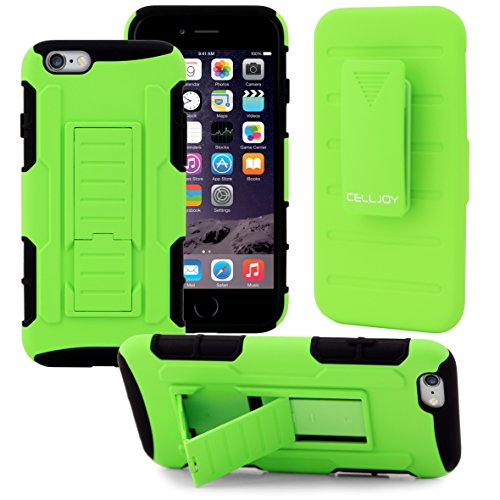 iPhone 6s Case / iPhone 6 Case (Lime Green), CellJoy® [Future Armor] Hybrid Ultra Fit Dual Protection Holster **Kickstand** [Belt Clip Holster Combo] - Rugged Case for iPhone 6s/6 4.7 inch