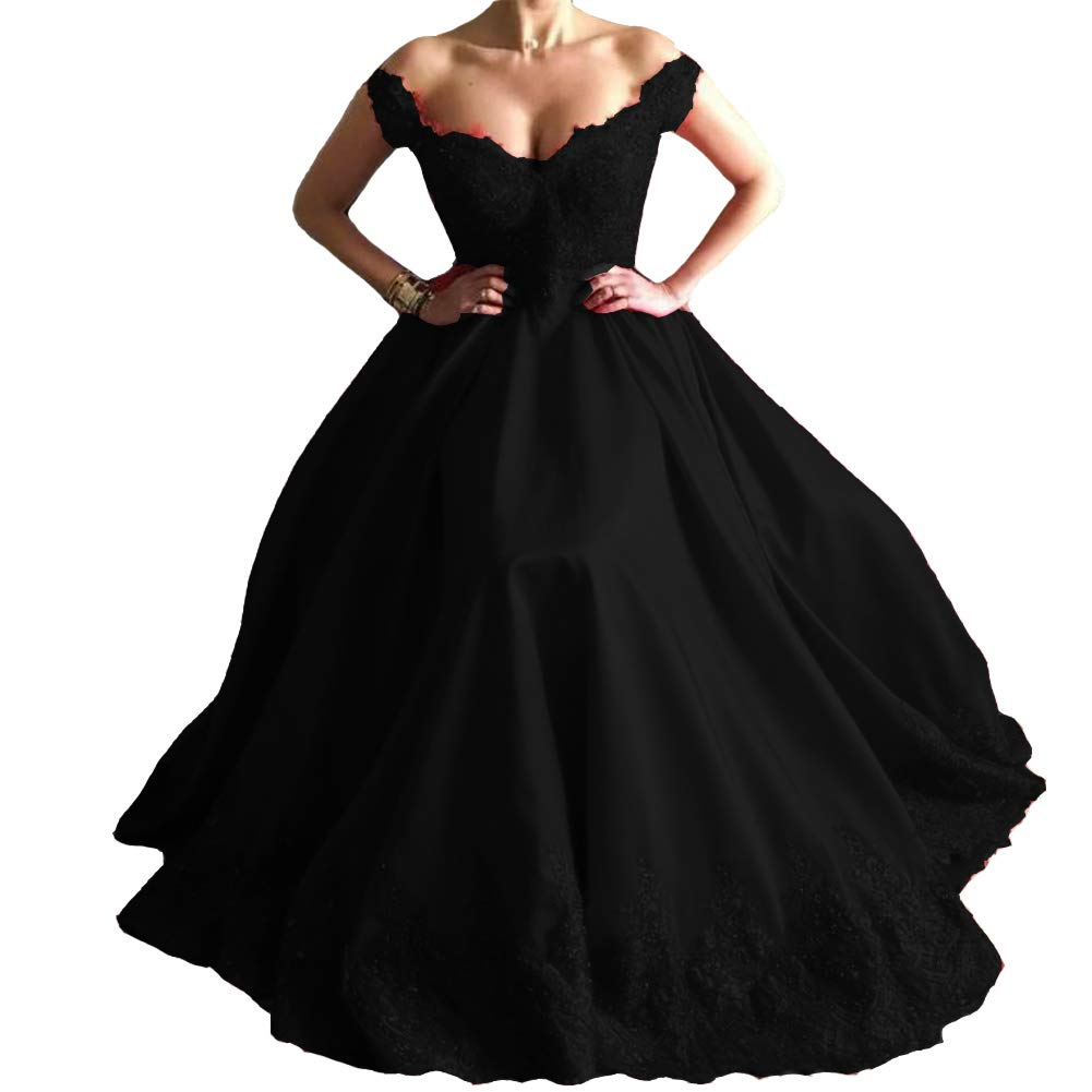 Black Kivary Beaded Lace Off The Shoulder Satin Formal Long Prom Dresses Evening Gown