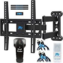 Full Motion TV Mount for 26-55 Inches TV, Corner TV Wall Mount Bracket Kit Include Stud Finder & 2 HDMI Cables, with Swivel Articulating Arm,up to VESA 400x400mm and 60lbs, MD2377-KT Mounting Dream