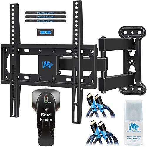 Mounting Dream Full Motion TV Mount for 26-55 Inches TVs, TV Bracket Kit Includes Stud Finder & 2 HDMI Cables, TV Wall Mount Bracket up to VESA 400x400mm and 60lbs loading, MD2377-KT