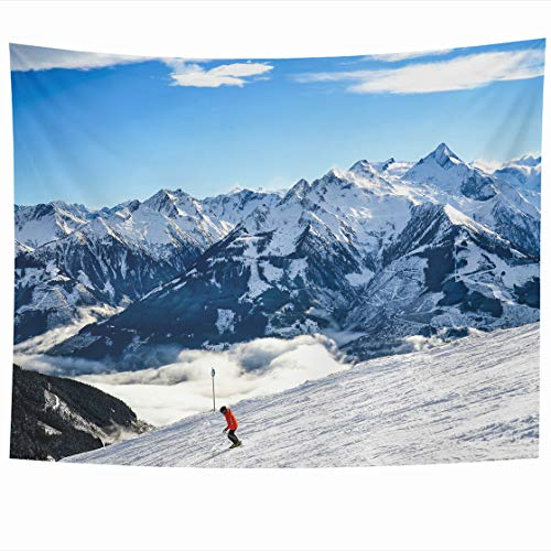 AlliuCoo Wall Tapestries 80 x 60 Inches Skiing Snow Mountain Ski Landscape Skier Resort Snowboard Home Decor Wall Hanging Tapestry Living Room Dorm (Ski Magazine Best Resorts)