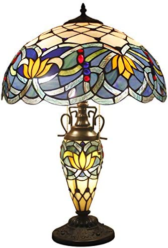 Tiffany Style Table Lamp W16H24 Inch Tall Blue Stained Glass Lotus Lampshade Antique Night Light Base S220 WERFACTORY Lamps Lover Living Room Bedroom Office Study Reading Desk Nightstand Art Gift
