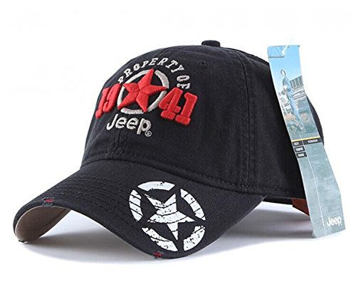 Jeep 1941 Unisex Adjustable Horizon Classic Cap (Black, Free Size)