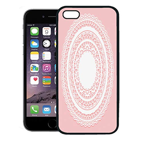 Semtomn Phone Case for iPhone 8 Plus case Cover,Doily White Lace Napkin on Pink Openwork Round Circle Border Pattern,Rubber Border Protective Case,Black