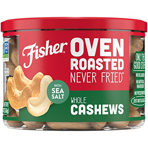- FISHER Snack, Oven Roasted Never Fried, Whole Cashews, Made with Sea Salt, 8.75 oz