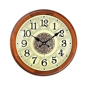 Wall clock Reloj de calibración automática de Tiempo Reloj de Pared Movimiento de Onda eléctrica Sala de Estar de Silencio Reloj de Pared de Madera Maciza Dial de Metal (12 Pulgadas, 16 Pulgadas) 14