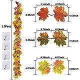 Artiflr 2 Pack Fall Garland Maple Leaf,Hanging Vine