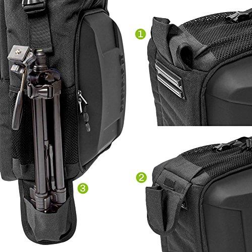 51R ucHwo2L - Camera Bag, Evecase Shell DSLR Camera/15.6-inch Laptop Double Buckle Water Resistant Backpack Travel Rucksack w/Rain Cover for Nikon Canon Fujifilm Sony Digital SLR, Mirrorless Camera - Black