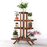 Solid Wood Flower Racks Carbonized Preservative Wood Flower Pots Rack Balcony Multi - Tier Plant Stand