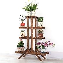Solid Wood Flower Racks Carbonized Preservative Wood Flower Pots Rack Balcony Multi - Tier Plant Stand