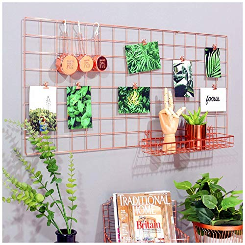 Nugoo Rose Gold Wall Grid Panel for Photo Hanging Display and Wall Decoration Organizer, Multi-Functional Wall Storage Display Grid, 5 Clips and 4 Nails Offered, Set of 1, Size 37.4' x 17.7'