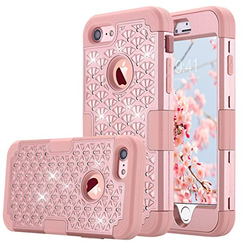 ULAK iPhone 7 Case, Bling Heavy Duty Protection Shockproof Soft Silicone + Hard PC Dual Layer Hybrid Impact Case for Apple iPhone 7 4.7 inch (2016) - Bling Rose ()