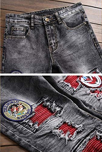 Uomo Size Senza color Regular Slim Skinny Dritti 11 Jeans Pantaloni Cinturino Stretch Da Giovane Midi Di 32 Fit wFExqCx