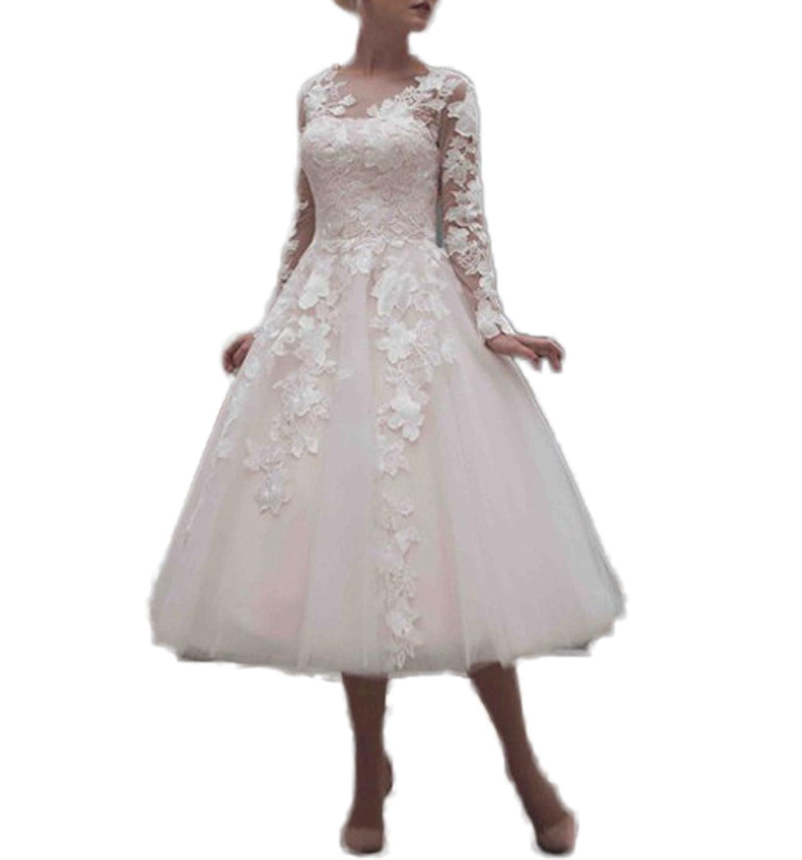 CoCogirls Jahrgang Braut Hochzeitskleider Tee Länge Applikationen ...
